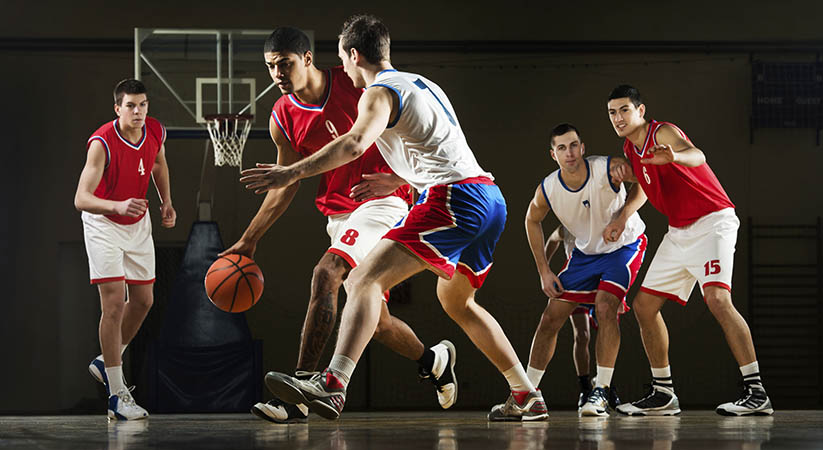 Basketball players in action.